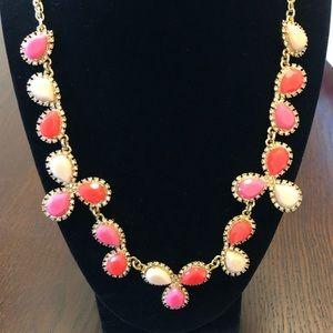 Kate Spade Pink Orange Cream Statement Necklace